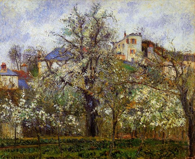 the vegetable garden with trees in blossom spring pontoise 1877