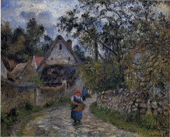 the village path thatched cottages in valhermeil 1880