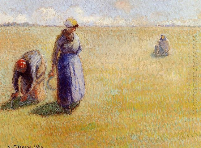 three women cutting grass 1886