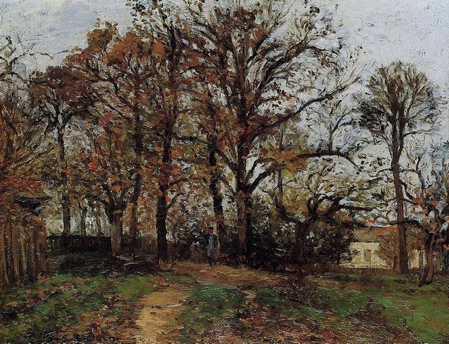 trees on a hill autumn landscape in louveciennes 1872