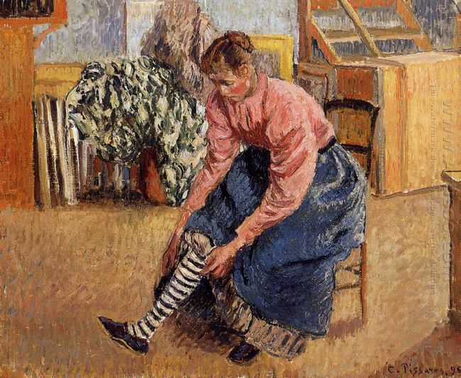 woman putting on her stockings 1895