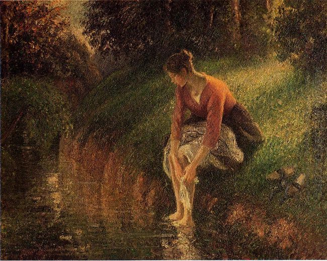 young woman bathing her feet also known as the foot bath 1895