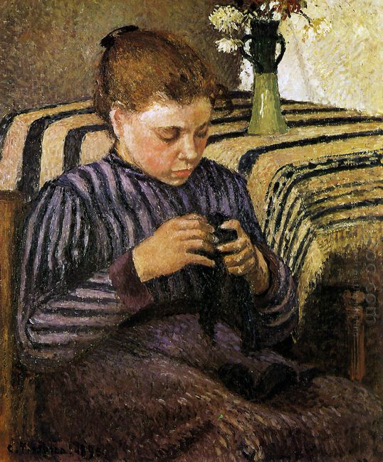 young woman mending her stockings 1895