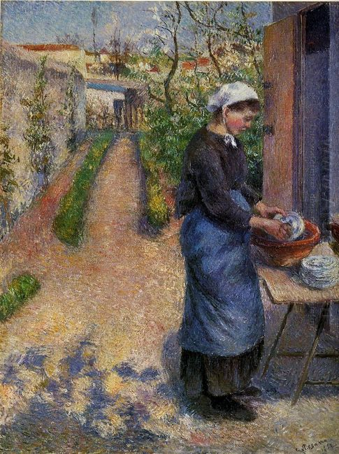 young woman washing plates 1882