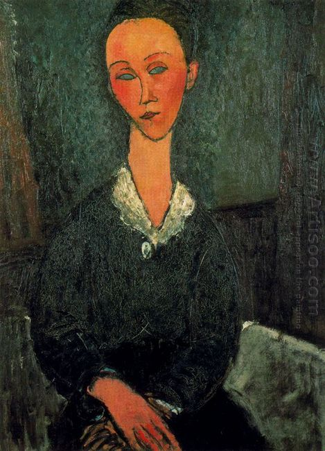 a woman with white collar 1916