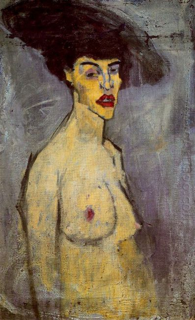 female nude with hat