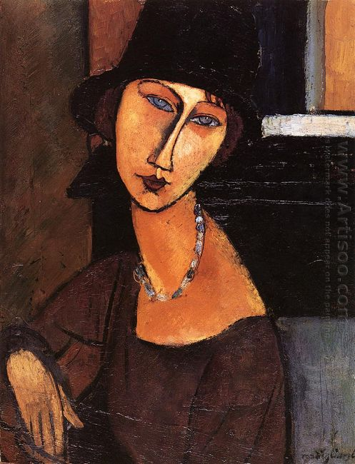 jeanne hebuterne with hat and necklace 1917