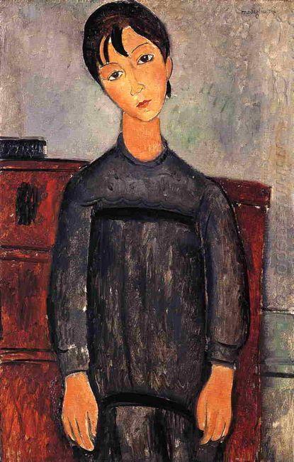 little girl in black apron 1918