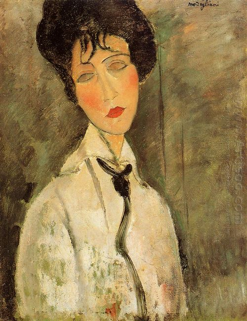 portrait of a woman in a black tie 1917