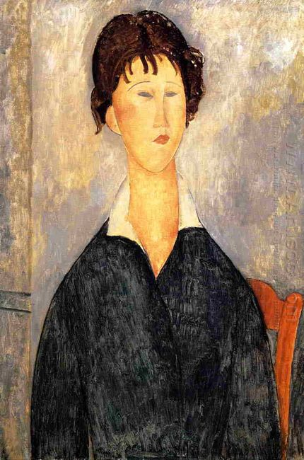 portrait of a woman with a white collar 1919