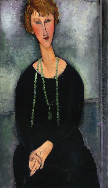 woman with a green necklace madame menier 1918