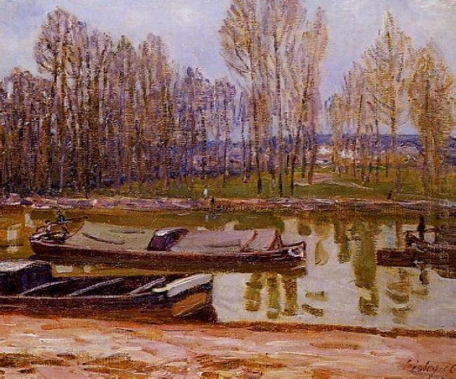 barges on the loing canal spring 1896