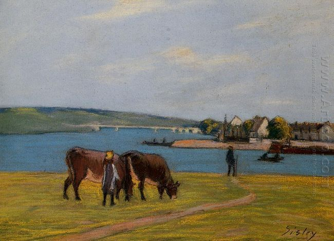 cows by the seine at saint mammes