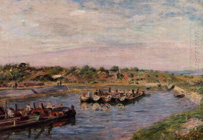 idle barges on the loing canal at saint mammes 1885