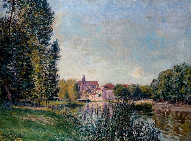 loing river and church at moret 1886