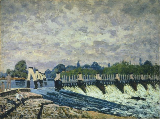 molesey weir at hampton court morning 1874