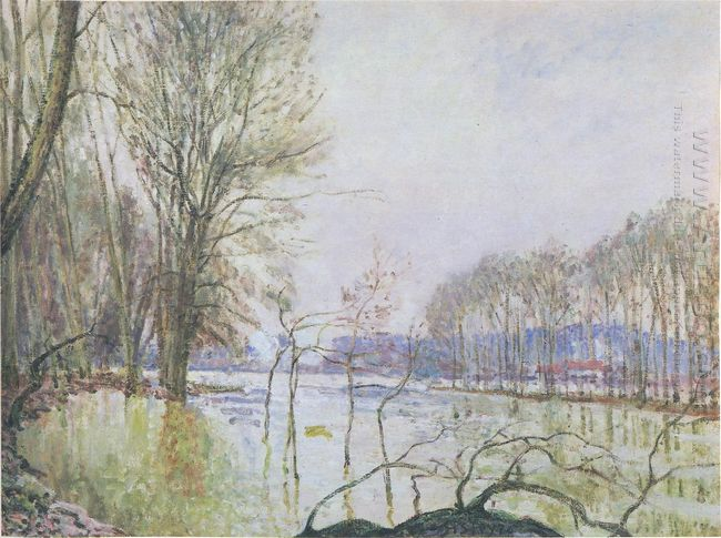 the banks of the seine in autumn flood