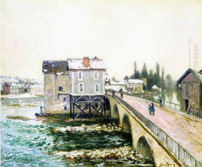 the bridge and mills of moret winter s effect 1890