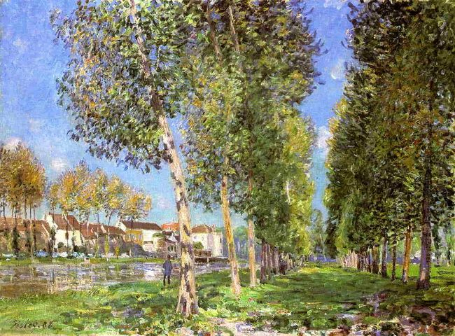 the lane of poplars at moret sur loing 1888
