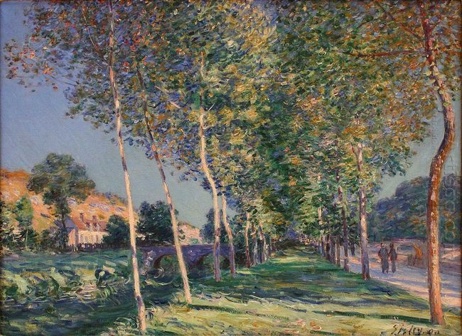 the lane of poplars at moret sur loing 1890