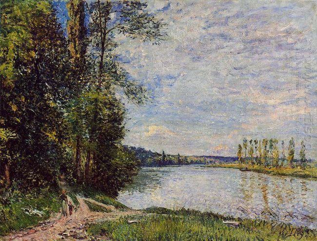 the path from veneux to thomery along the water evening 1880