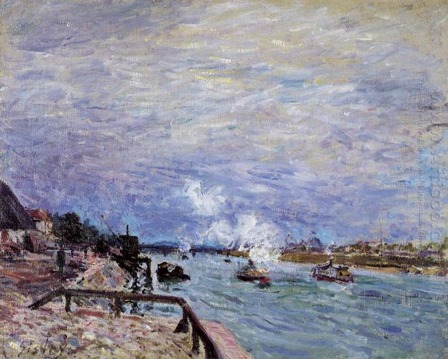 the seine at grenelle rainy wether 1878