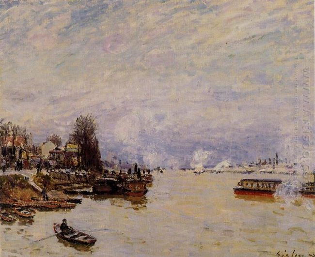 the seine view from the quay de pont du jour 1878