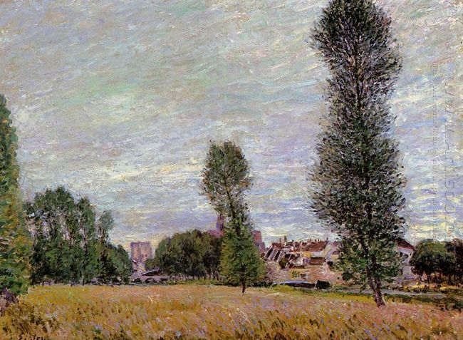 the village of moret seen from the fields 1886