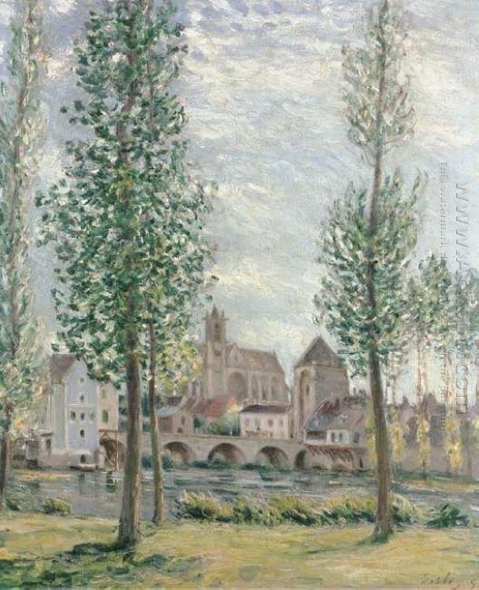 view of moret sur loing through the trees 1892