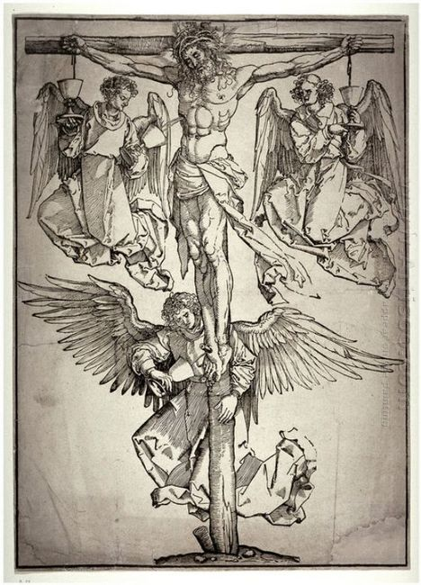 christ on the cross with three angels 1525