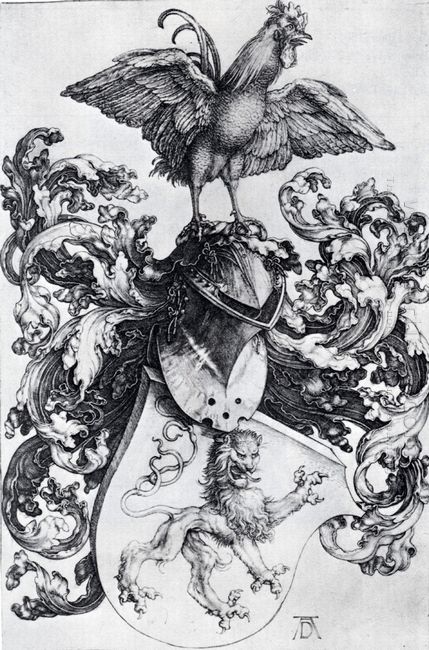 coat of arms with lion and rooster 1500
