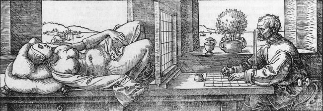 draughtsman drawing a recumbent woman 1525