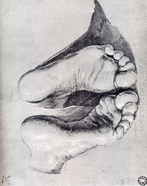 feet of a kneeling man 1508