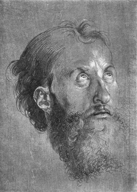 head of an apostle looking upward 1508