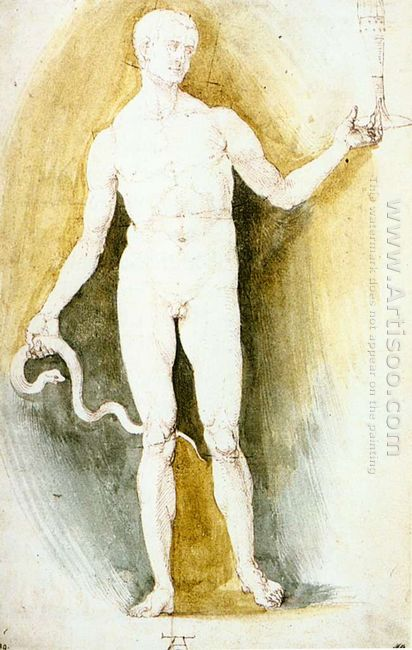 male nude with a glass and snake asclepius