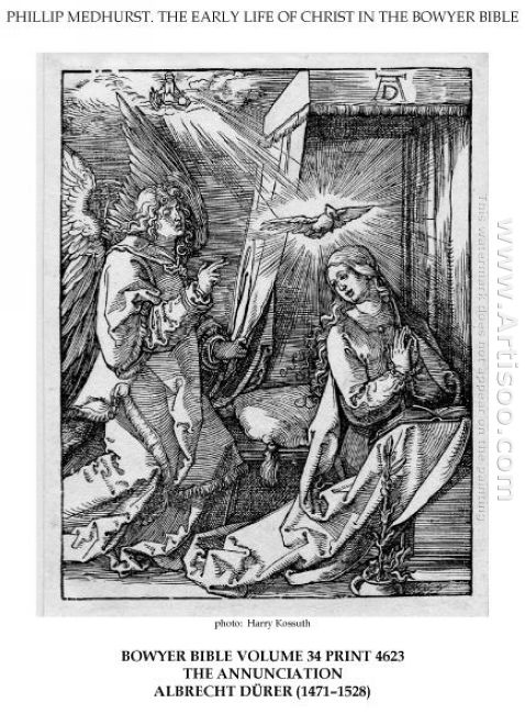 on the left the archangel gabriel approach the praying virgin ma