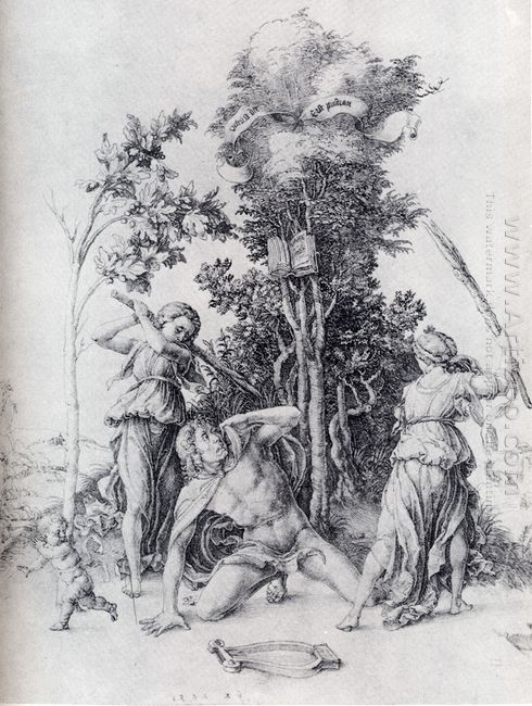 orpheus slain by bacchantes with a boy running away 1494