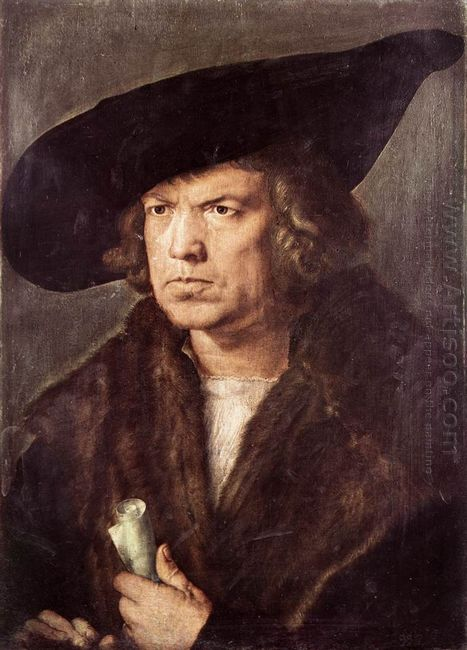 portrait of a man with baret and scroll 1521