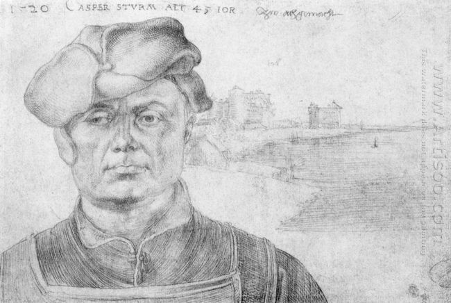 portrait of caspar tower and a river landscape 1520