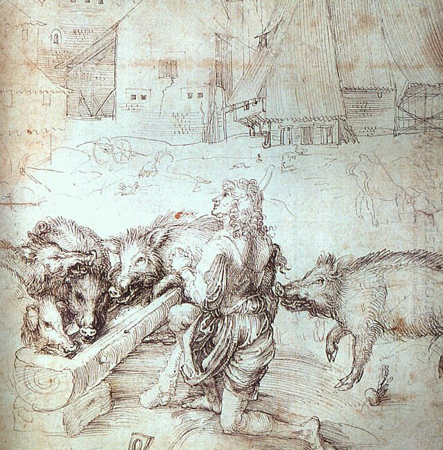 study for an engraving of the prodigal son 1520