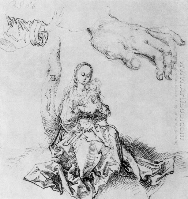 study sheet with madonna and child hand and sleeve