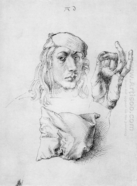 study sheet with self portrait hand and cushions 1493
