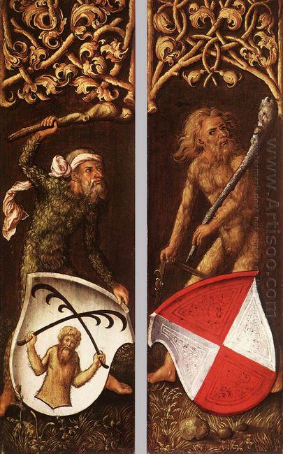 sylvan men with heraldic shields 1499
