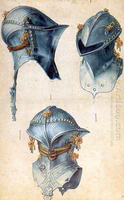 three studies of a helmet