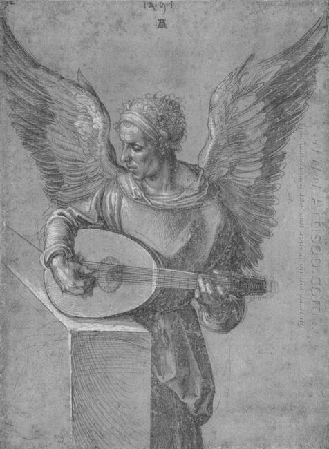 winged man in idealistic clothing playing a lute 1497