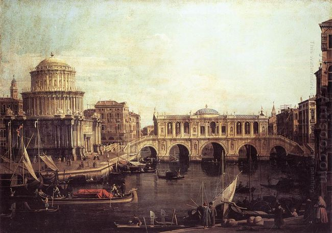 capriccio the grand canal with an imaginary rialto bridge and ot