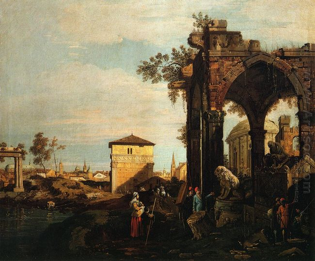 capriccio with ruins and porta portello in padua