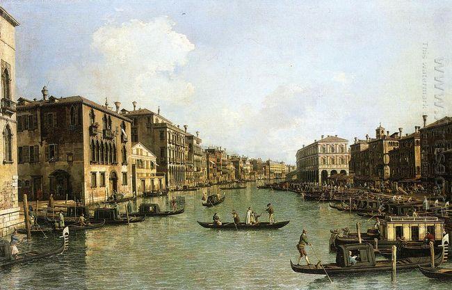 grand canal from the campo santa sofia towards the rialto bridge