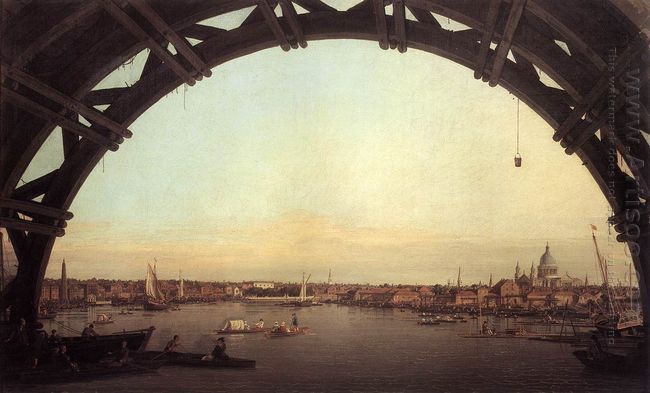london seen through an arch of westminster bridge 1747