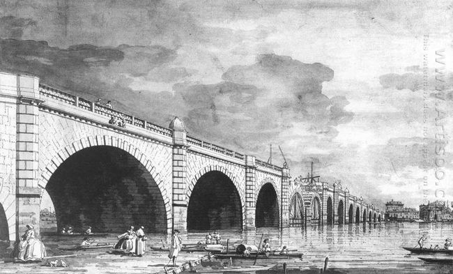 london westminster bridge under repair 1749